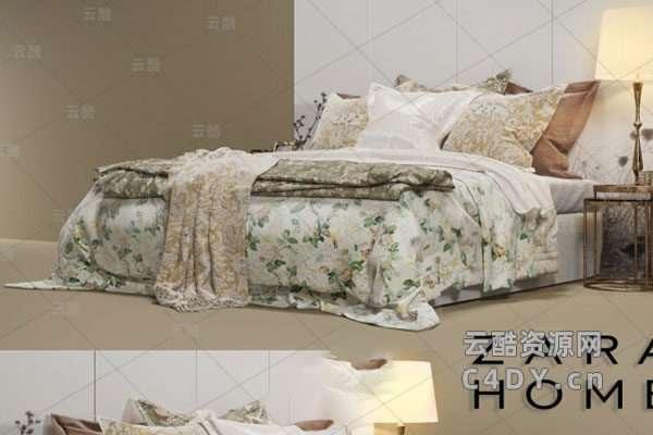 现在代床具-室内现在代床上用品大全模型,C4D床具枕头模型-云酷网c4d