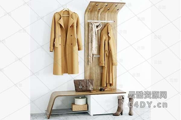 现代衣架-现代服饰-服饰模型,C4D衣架模型-云酷网c4d