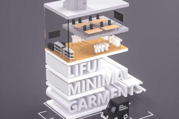 卡通楼房海报工程_卡通楼房海报素材_卡通两只猫素材-C4D卡通楼房模型02